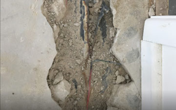 wire buried in concrete wall